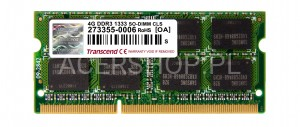 SODIMM DDR3 4GB PC1333 - Aspire 5742, 5820